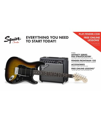 Set chitara electrica Squier Affinity Strat HSS/FM15G BSB